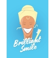 Poster with woman smiling White healthy teeth vector image