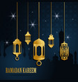 ramadan greeting card with golden islamic arabic vector image