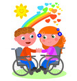 romantic love in wheelchair vector image vector image
