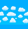 seamless sky with white clouds cartoon blue vector image