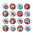 set flat valentines day icons vector image vector image