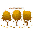 set isolated cartoon autumn trees and vector image