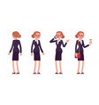 set of businesswoman in standing poses rear and vector image