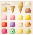 Set of cartoon ice cream icons vector image vector image
