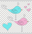 set of two cut fabulous birds and hearts vector image