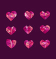 Set polygonal heart symbols icons
