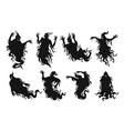set silhouettes scary ghosts flat vector image vector image