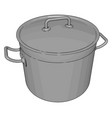 silver cookware on white background vector image vector image