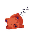 sleeping red teddy bear on a white background vector image vector image