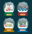 snow globes for christmas holidays set toys vector image vector image