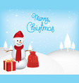 snowman with presents vector image vector image