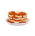 stack of fresh pancakes with chocolate syrup and vector image vector image