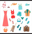 summer wardrobe for tourists travelers vector image