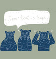 three wise bears vector image