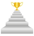 Trophy on stairs vector image vector image