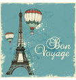 Vintage card with Eiffel Tower and air balloons vector image vector image
