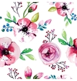 Watercolor painting with Rose flowers Seamless vector image vector image