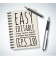 Notepad objects isolated flat design pen and vector image