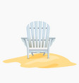 Adirondack chair standing on the yellow sand vector image vector image