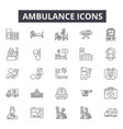ambulance line icons for web and mobile design vector image