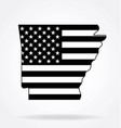 arkansas state shape with usa flag black white vector image vector image