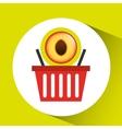 basket market sweet peach icon design vector image vector image