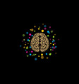brain logo stylized brain with color and bright vector image