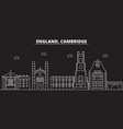 cambridge silhouette skyline great britain vector image vector image