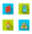 canister for gasoline gas station tower warning vector image