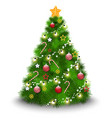 christmas tree pine with baubles garlands decor vector image