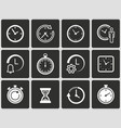 clock time icons set vector image vector image