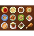 collection traditional dishes vector image