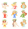 collection young beautiful women with flower vector image vector image
