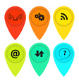 colored tags on the map with icons vector image vector image