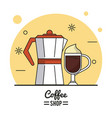 colorful poster of coffee shop with kettle and vector image vector image