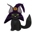 cute black cat in hat vector image