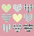 cute hearts on pink background with dots and vector image