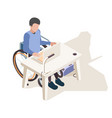 disabled at desk person home handicapped computer vector image vector image