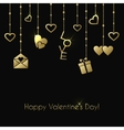 Greeting card for Valentines Day with gold hanging vector image vector image