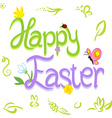 Happy Easter calligraphy text with spring design vector image vector image