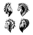 horse or mustang animal icons tattoo and mascot vector image vector image