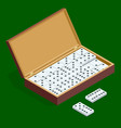 isomeric set of dominoes in bamboo box isolated on vector image vector image