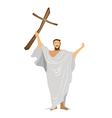 Jesus christ praying with a wooden cross vector | Price: 1 Credit (USD $1)