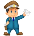 Mail cartoon carrier with bag and letter vector image vector image