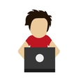 man using laptop icon vector image