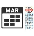 March Calendar Grid Flat Icon With Bonus vector image vector image