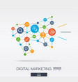 marketing integrated thin line icons in megaphone vector image vector image