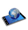 network earth on smart phone vector image vector image