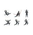 ninja warriors set japanese fighter wearing black vector image