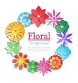Origami flowers invitation card paper cut vector image
